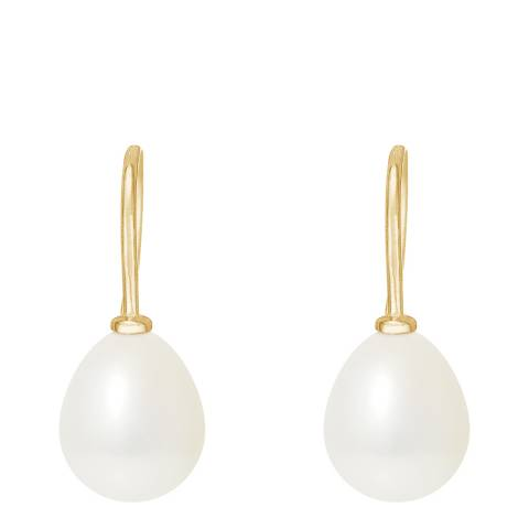 Manufacture Royale Yellow Gold / White Pearl Pear Drop Earrings 6-7mm