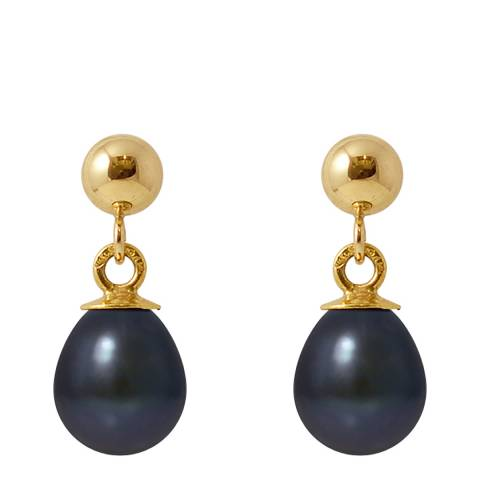 Manufacture Royale Yellow Gold / Black Pearl Earrings 9-10mm