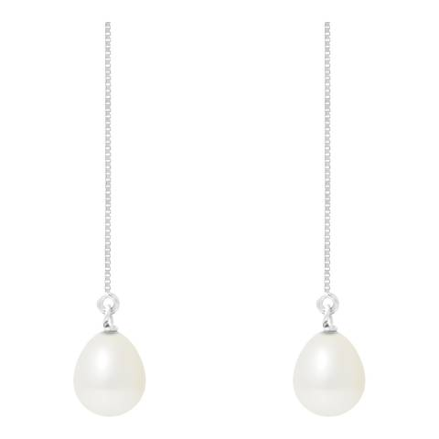 Manufacture Royale White Pearl Drop Earrings 9-10mm
