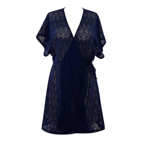 Panache Navy Crochet Wrap Sun Dress