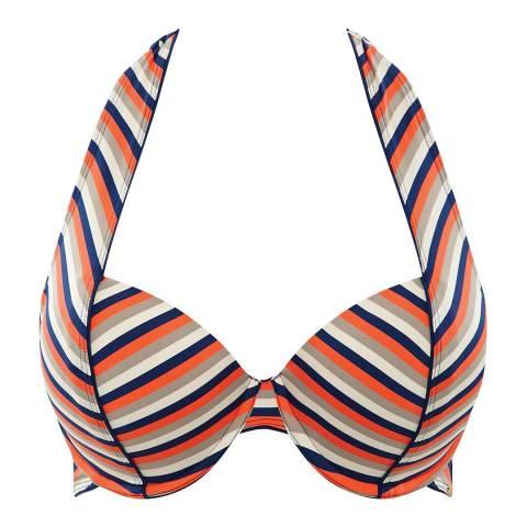 Panache Orange/Multi Summer Halter Bikini Top