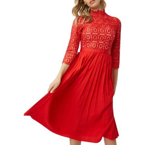 Little Mistress Red Alice Crochet Pleat Dress