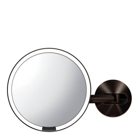 Simplehuman Dark Bronze Stainless Steel Mirror, 5X Magnification, Rechargeable, 20cm