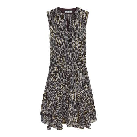 Reiss Navy Stefania Mesh Print Dress
