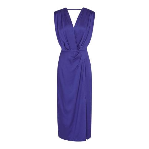 Reiss Blue Elaini Wrap Front Dress