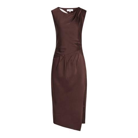 Reiss Brown Julietta Pleat Midi Dress
