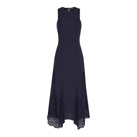 Reiss Navy Romi Lace Back Midi Dress
