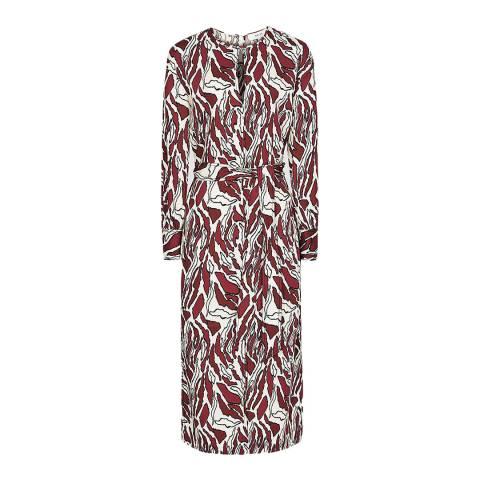 Reiss Brown/White Inaya Tiger Print Dress