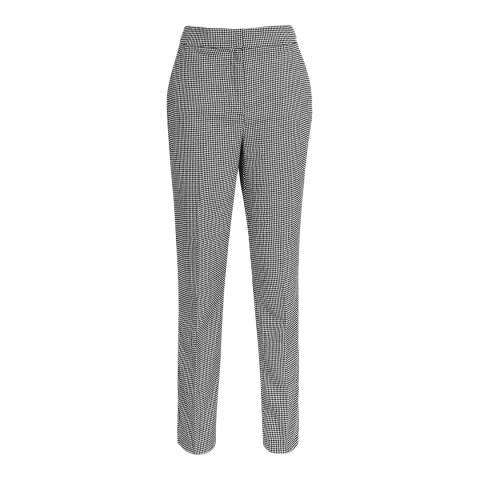 Reiss Black Perla Puppytooth Slim Trousers