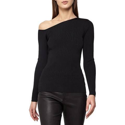 Reiss Black Anisa Slash Shoulder Knit Top