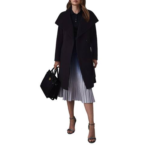 Reiss Navy Luna Belted Wool Coat