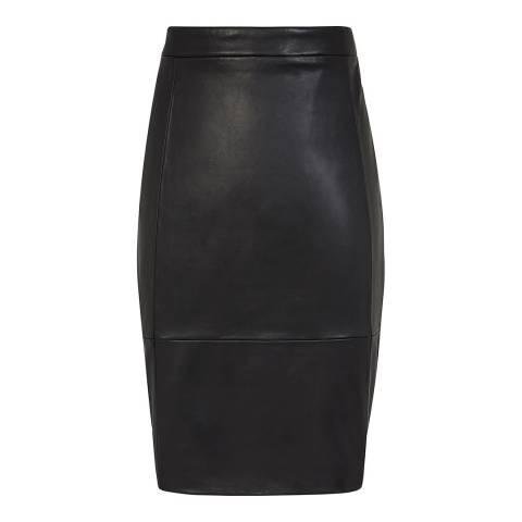 Reiss Black Olivia Leather Ponte Skirt
