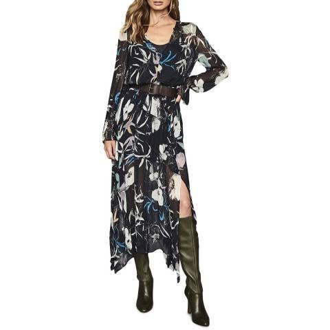 Reiss Navy Carina Floral Print Midi Dress