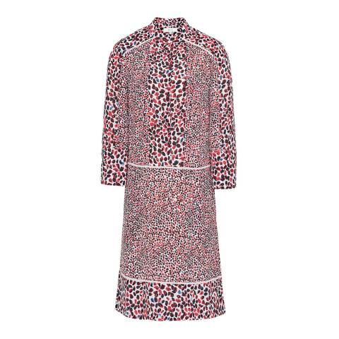 Reiss Red Anush Printed Tea Dress