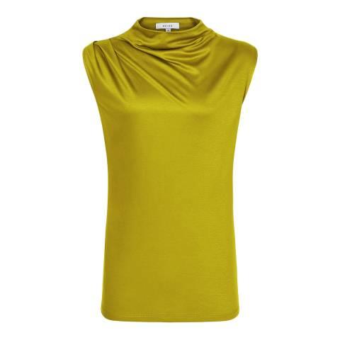 Reiss Mustard Lola Drape Top
