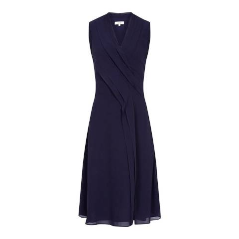 Reiss Navy Alana Pleat Dress