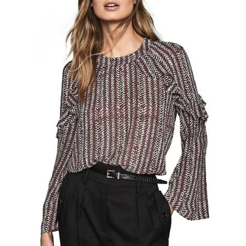 Reiss Red Adelaide Ruffle Top
