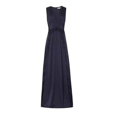 Reiss Navy Odette Lace Trim Maxi Dress