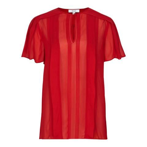 Reiss Red Millie Sheer Pleat Top