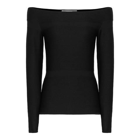 Reiss Black Marissa Knit Bardot Top