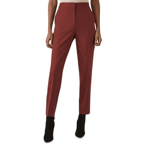 Reiss Red Eleanor Tapered Wool Blend  Trousers