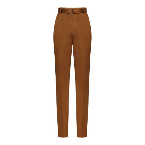 Reiss Tan Primrose Satin Belted Trousers