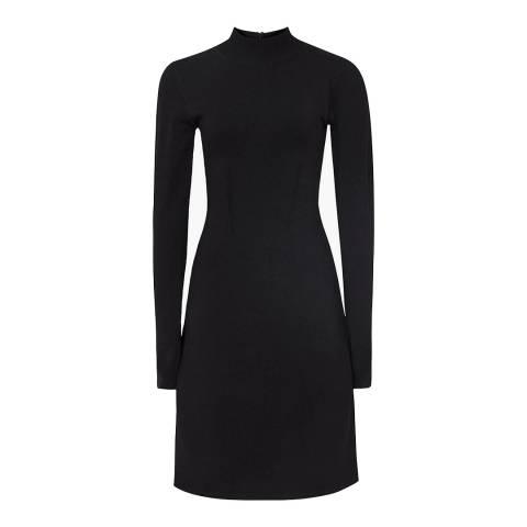 Reiss Black Sandie Drop Waist Knit Dress