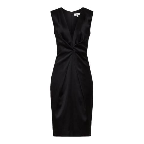 Reiss Black Mosaic Satin Twist Dress