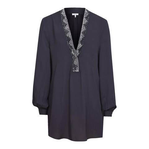 Reiss Navy Phoebe Embroidered Blouse
