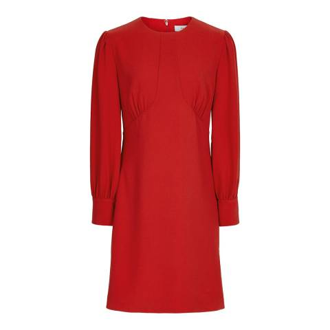 Reiss Red Analise Seam Crepe Dress