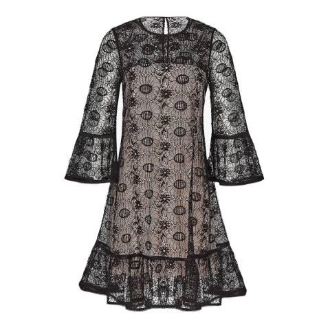 Reiss Black/Nude Jade Lace Shift Dress