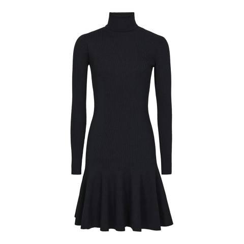 Reiss Black Mimi Flippy Hem Dress