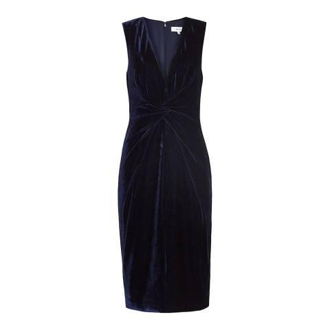 Reiss Navy Mosaic Velvet Twist Dress