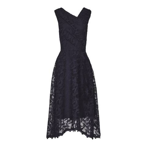 Reiss Navy Rayna Wrap Lace Dress