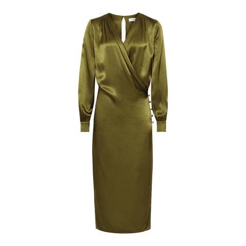 Reiss Olive Renae Satin Wrap Dress