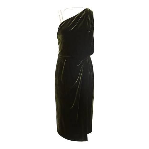 Reiss Green Una Velvet Strappy Dress