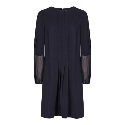 Reiss Navy Delfina Pin Tuck Dress