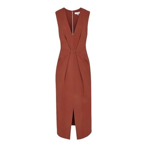 Reiss Rust Gracie Deep V Dress