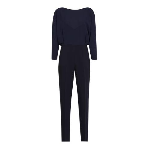 Reiss Navy Ania Open Back Jumpsuit