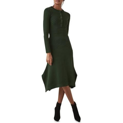 Reiss Khaki Sole Knit Midi Dress