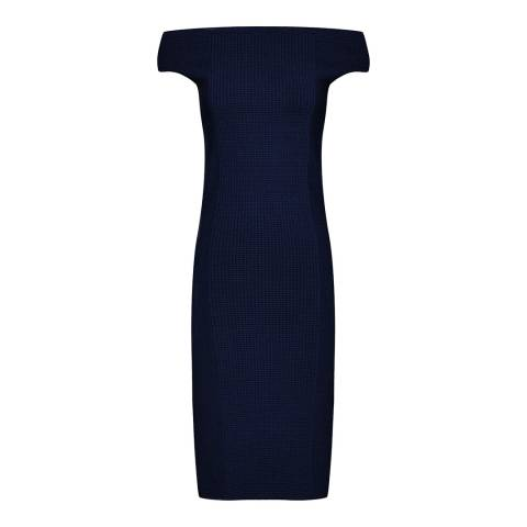 Reiss Navy Pippa Knit Bardot Dress