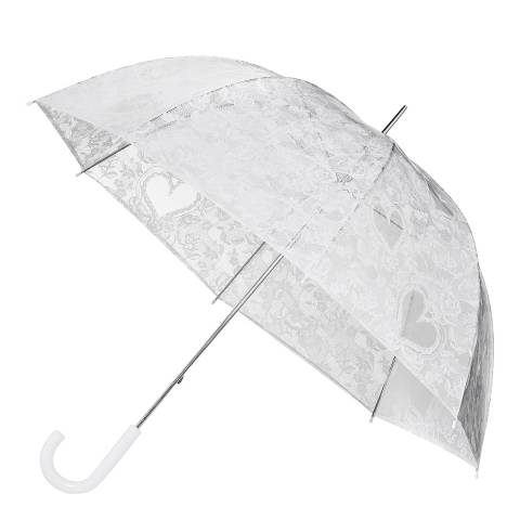 Impliva Transparent / White Lace Birdcage Umbrella