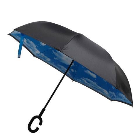 Le Monde du Parapluie Black / Blue Sky Reversible Umbrella