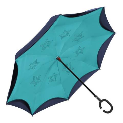 Perletti Navy / Turquoise Reversible Umbrella