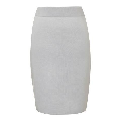 Winser London Dove Grey Milano Wool Pencil Skirt