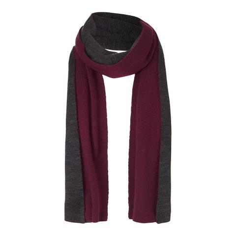 Winser London Charcoal Marl/ Berry Wool Blend Reversible Scarf
