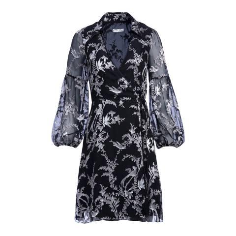 Alice + Olivia Multi Gaston Blouson Sleeve Wrap Dress
