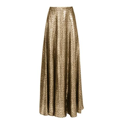 Alice + Olivia Gold Athena Clean Maxi Skirt