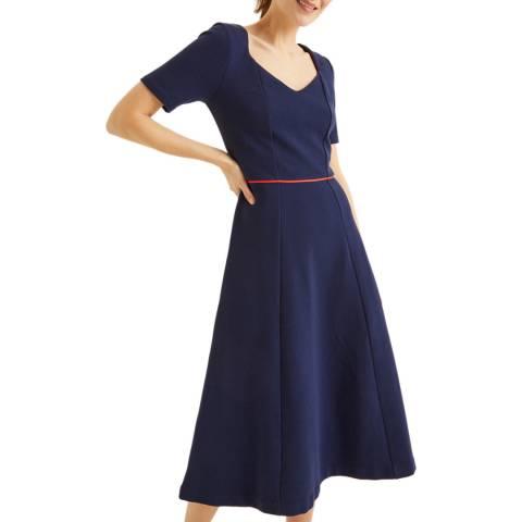 Boden Navy Hadley Ottoman Midi Dress