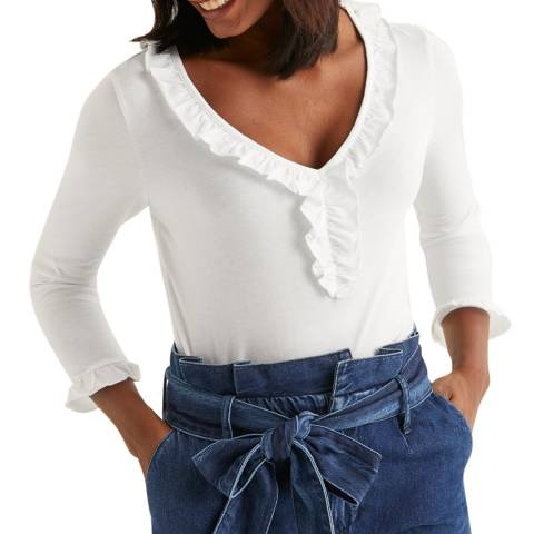 Boden White Federica Jersey Top